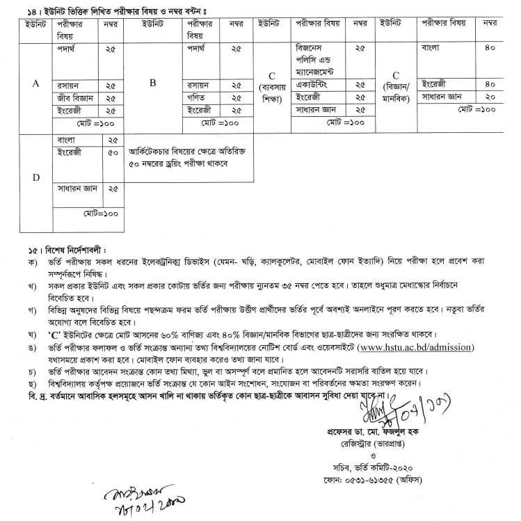Hajee Mohammad Danesh Science and Technology University HSTU Admission Circular 2019-20 1